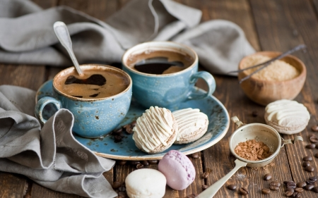 coffee-grains-towel-cookies-macaron-plate-dessert-cups-wooden-table-hd-wallpaper-1680x1050